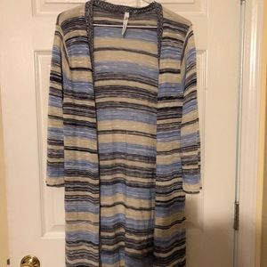 Sweaters - Light weight knee length striped open cardigan xl